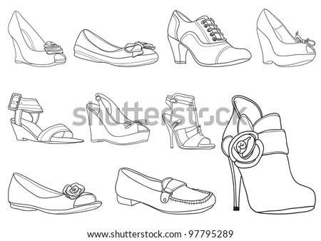 Vector illustration of fashion shoes collection  on white background - stock vector