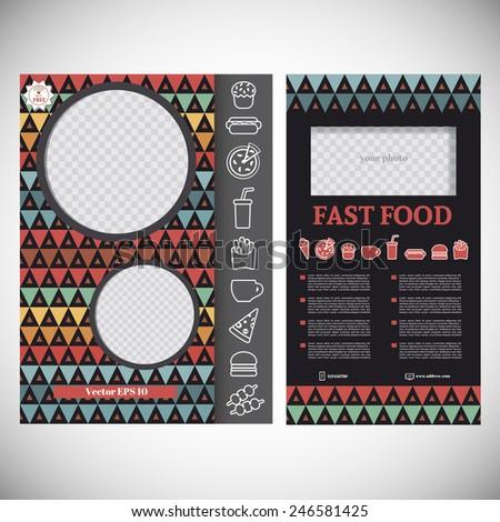 Vector illustration of fast food menu card - stock vector
