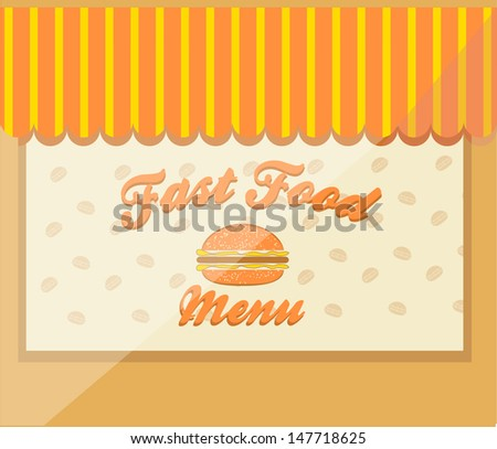 Vector illustration of Fast Food showcase with burgers pattern - stock vector