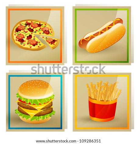 Vector Illustration of Fast Food Templates - stock vector