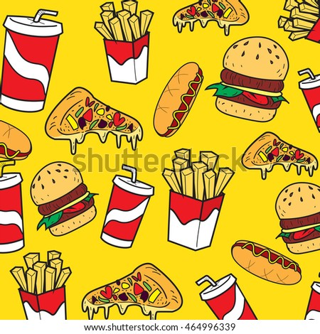 Vector illustration of fast foods in colored doodle style
