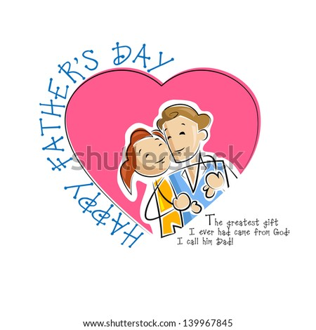vector illustration of father and daughter in Father's Day background - stock vector