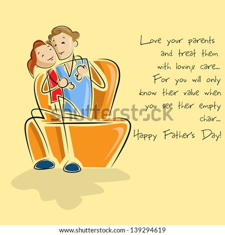 vector illustration of father and daughter sitting in sofa in Father's Day background - stock vector