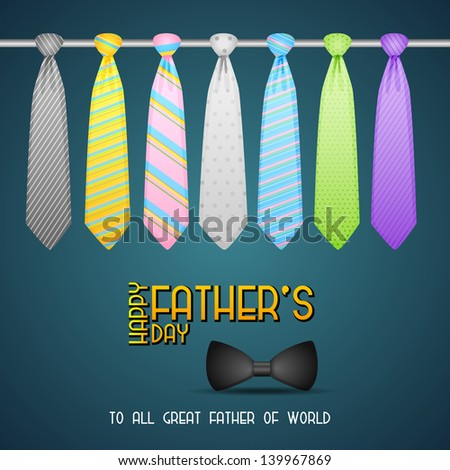 vector illustration of Father's Day Background with colorful tie - stock vector
