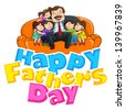 vector illustration of father with kid in Father's Day background - stock