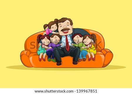 vector illustration of father with kid sitting in sofa - stock vector