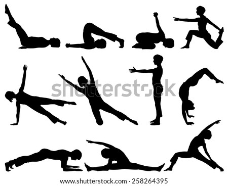 Vector illustration of female fitness silhouettes.