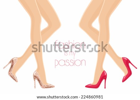 Vector illustration of female legs in high-heeled polka red shoes and snakeskin shoes - stock vector