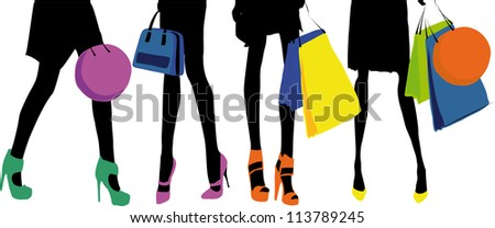 Vector illustration of female legs wearing elegant high heels and clothes in matching colors. Raster version also available. - stock vector