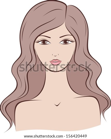 Vector illustration of female silhouette with long hair