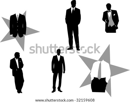 Vector illustration of fictitious business men in tuxedos, good for design business or corporate oriented. - stock vector