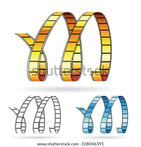 Vector illustration of film reels forming letter M to symbolize movies - stock vector