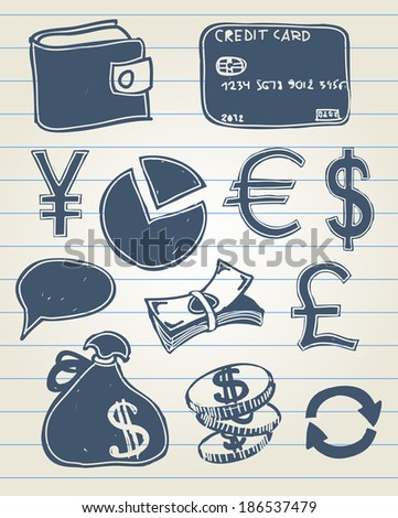 Vector illustration of finance set of icons in sketchy style - stock vector