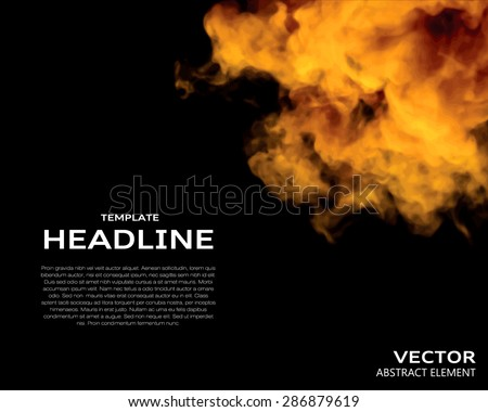 Vector illustration of fire elements on black. Use it as a background in your design projects. - stock vector