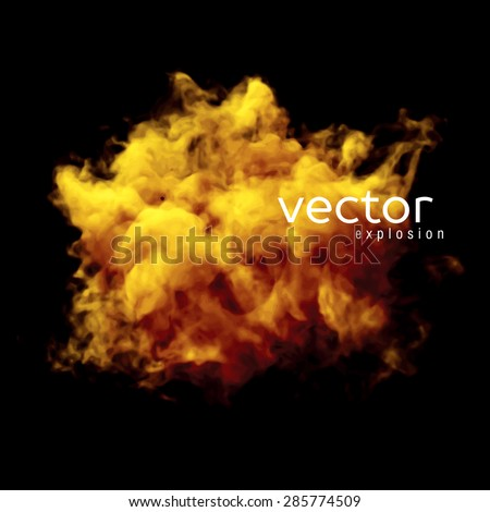 Vector illustration of fire explosion on black. Use it as an element of background in your design. - stock vector