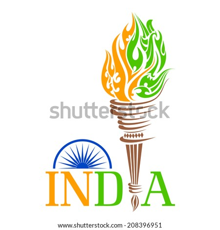 vector illustration of fire torch with India tricolo flame - stock vector