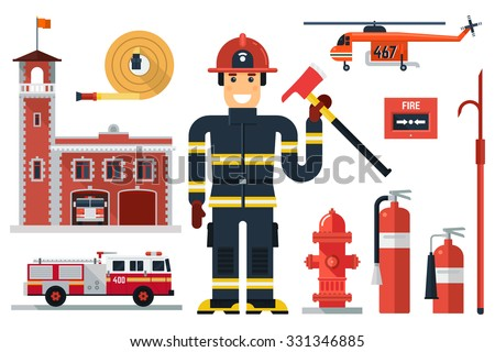 Vector illustration of firefighting character, fire helicopter, hose, fire station, fire engine, fire  alarm, extinguisher, axe,  hook and hydrant. Flat style. Elements for infographic.  - stock vector