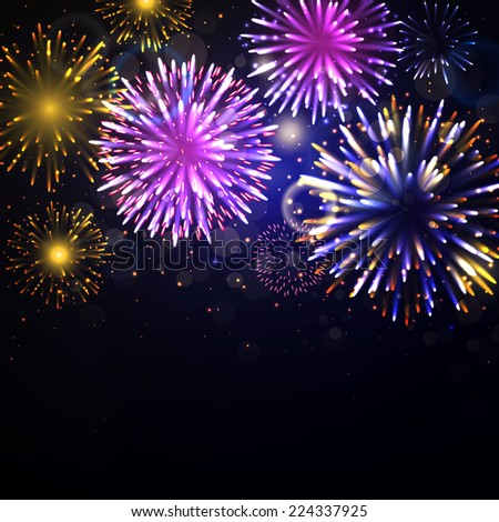 Vector Illustration of Fireworks - stock vector
