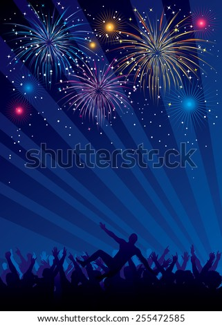 Vector illustration of fireworks and crowd silhouettes. Objects are layered, only linear gradient used. Each silhouette is separate and easy to edit. - stock vector