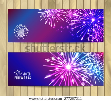 Vector Illustration of Fireworks. Banners set. - stock vector