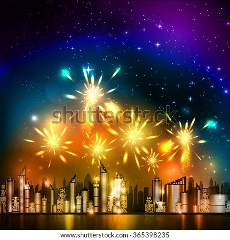 Vector illustration of fireworks over the night city