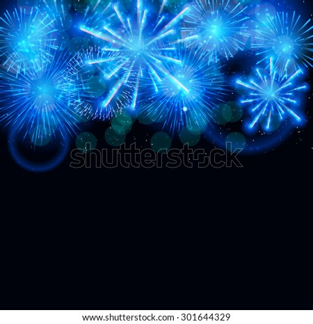 Vector Illustration of Fireworks, Salute on a Dark Background EPS10 - stock vector