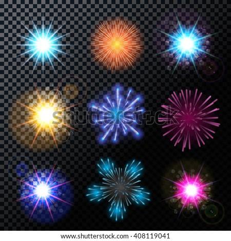 Vector Illustration of Fireworks, Salute Set on a Transparent Background EPS10 - stock vector