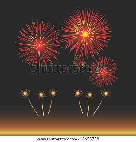 Vector Illustration of Fireworks with copy space. Large format permits a variety of cropping choices. Suitable for New Years Eve, Bonfire Night, Independence Day and general celebrations. - stock vector