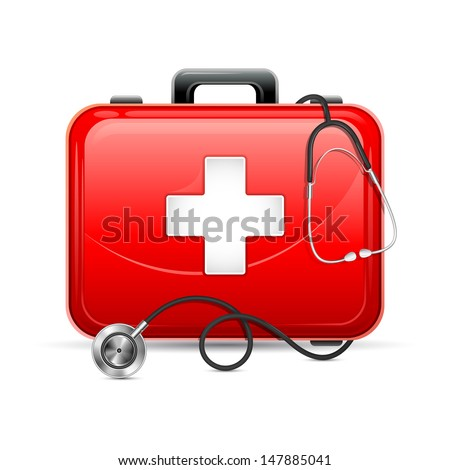 vector illustration of first aid box with stethoscope - stock vector