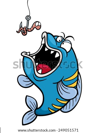 Vector illustration of fish with Fishing Hook - stock vector