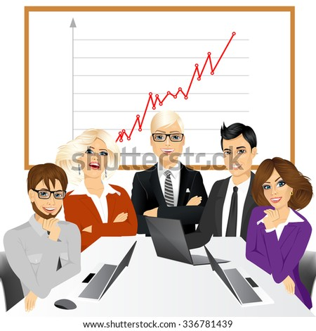 vector illustration of five businesspeople at office smiling together happy sitting around meeting table - stock vector