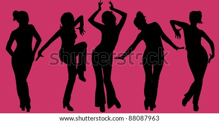 Vector illustration of five dancing women silhouettes on purple background