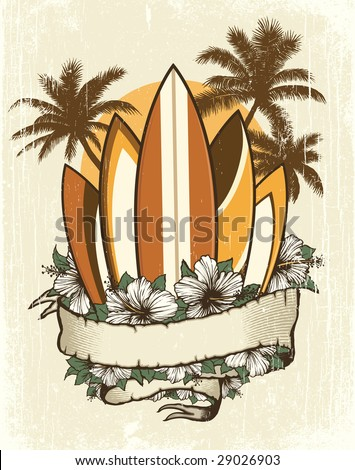 Vector illustration of five retro surfboards behind a banner with hibiscus flowers, palm trees and sun.