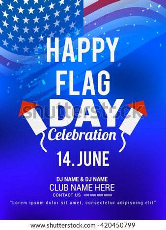 Vector illustration of Flag day with stylish typography background.