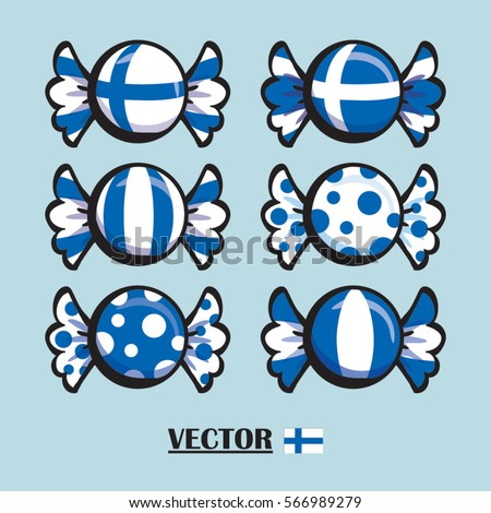vector illustration of flag of Finland Country National flag, colorful sweet candies / candy shape group isolated on white, different patterns