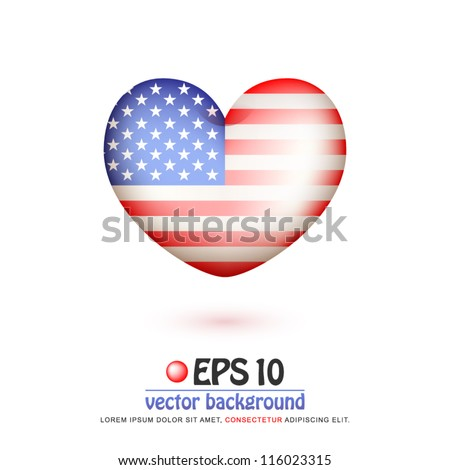 vector illustration of flag of United States in valentine heart shape