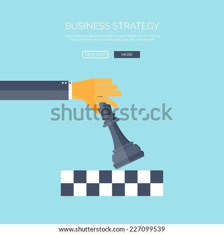 Vector illustration of flat background with hand and chess, business and company strategy. Development and planning. Management. - stock vector