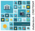 Vector illustration of flat color icons with long shadow. Finance set for web, apps, interface design: bank, card, wallet, coin, safe, money bag, cash, case, calculator, dollar, euro, pound symbol. - stock photo