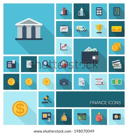 Vector illustration of flat color icons with long shadow. Finance set for web, apps, interface design: bank, card, wallet, coin, safe, money bag, cash, case, calculator, dollar, euro, pound symbol. - stock vector