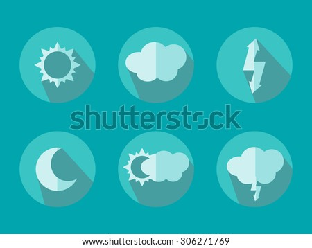 Vector illustration of flat color weather icons with long shadow - stock vector