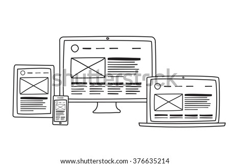 vector illustration flat concept responsive web stock