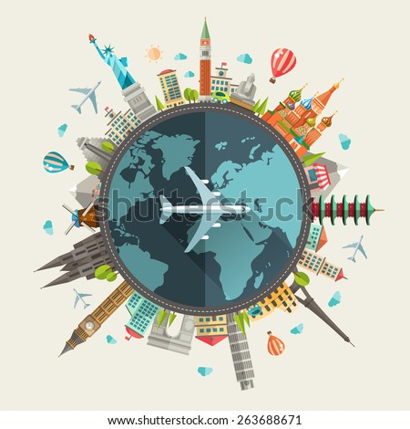 Vector illustration of flat design travel composition with famous world landmarks icons - stock vector