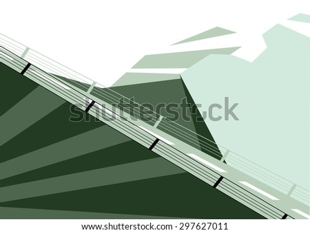 Vector illustration of flat designed winter mountains landscape with billboard. Can be used as flyer, cover, business cards, envelope, and brochure background.