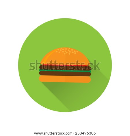 Vector illustration of flat fast food icon. Icon of hamburger for menu, cafe and restaurant. Colorful and long shadow. Element for web design.  - stock vector