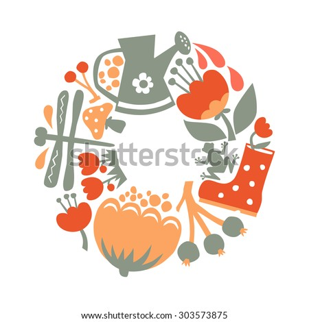 Vector illustration of flat flowers garden elements. Flower background, decorative art print  ornament. Can be used for fabric, textile, T-shirt, wall sticker, postcard design. - stock vector