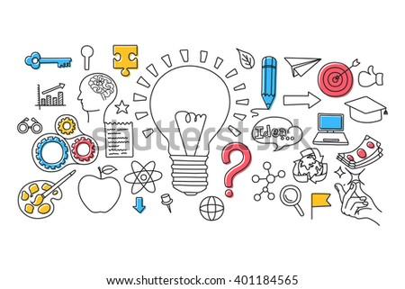 vector illustration of flat line art design of Big Idea concept for web design template - stock vector