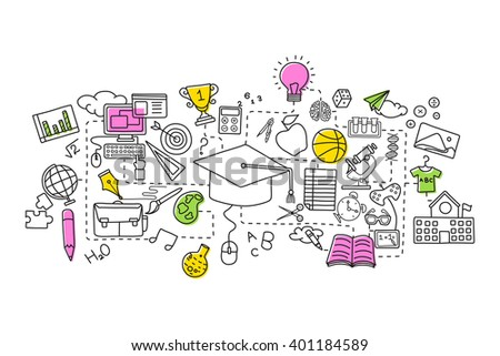 vector illustration of flat line art design of Education concept - stock vector