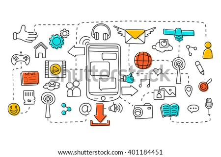 vector illustration of flat line art design of Telecommunication concept for web design template - stock vector