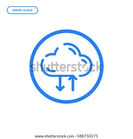 Vector illustration of flat Line icon. Graphic design concept of digital cloud storage. Use in Web Project and Applications. Blue outline isolated object.