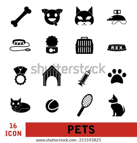 Vector Illustration of Flat Pets Icon for Design, Website, Background. Domestic Cat and Dog. Pet Template with toy, Doghouse, Veterinary, Bone, Award, Pill, Ball, Cat food. Black on White Background - stock vector